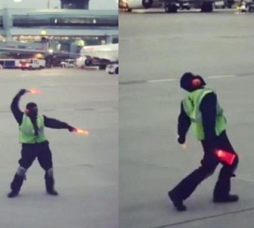 Operario causa conmoción con sus pasos de baile en plena pista de vuelo