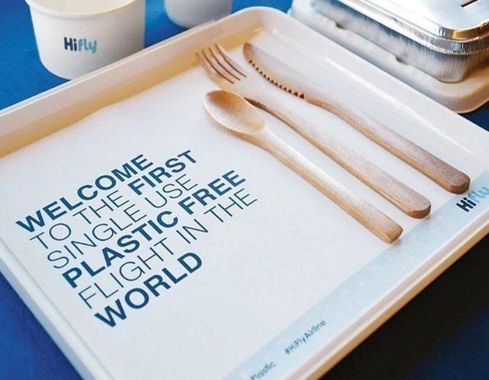 Aerolínea Hi Fly lanza el primer vuelo comercial libre de plástico